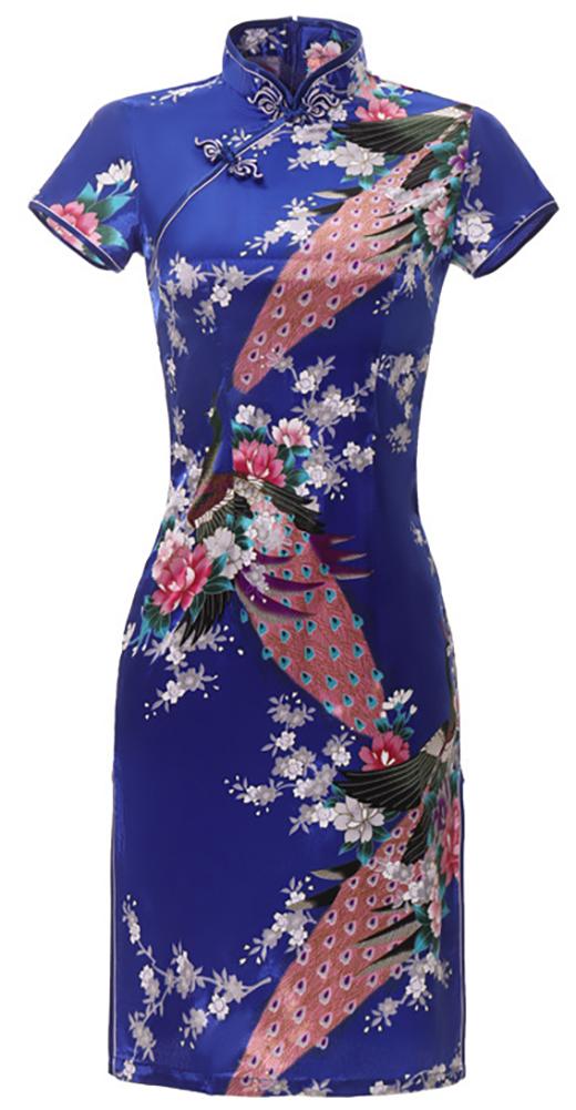 7Fairy Women's Traditional Silky Peacock Chinese Mini Dress Cheongsam Qipao Navy Blue