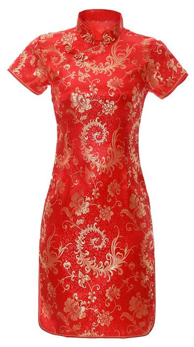 7Fairy Women's Oriental Satin Red Phoenix Tail Chinese Mini Dress Cheongsam Qipao