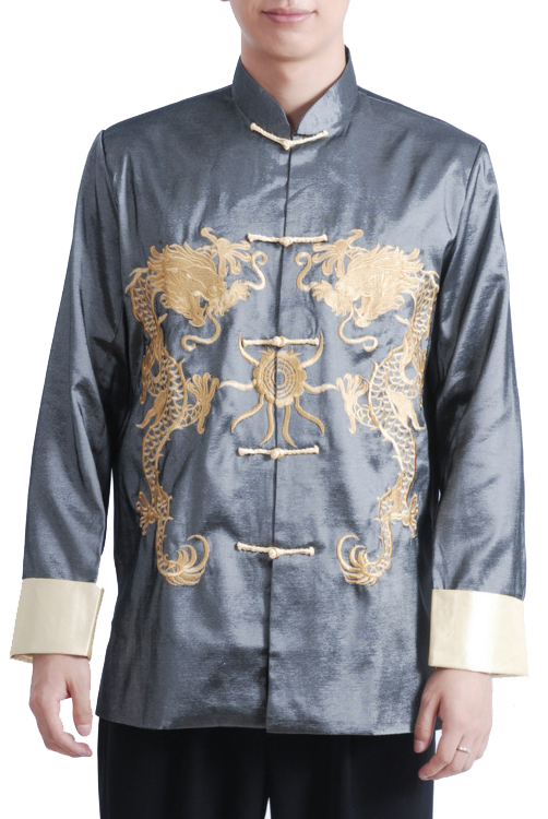 7Fairy Men's Gray Chameleon Traditional Dragon Embroidered Chinese Gong Fu Jacket Long Sleeve