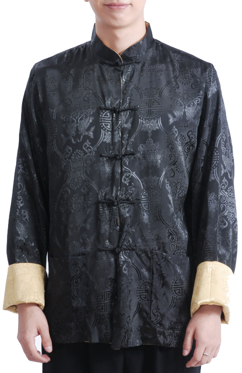 7Fairy Men's Gold Black Reversible Propitious Silk Chinese Gong Fu Jacket Long Sleeve