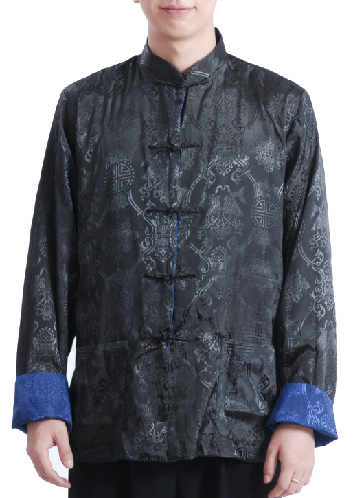 7Fairy Men's Navy BLue Black Reversible Propitious Silk Chinese Gong Fu Jacket Long Sleeve