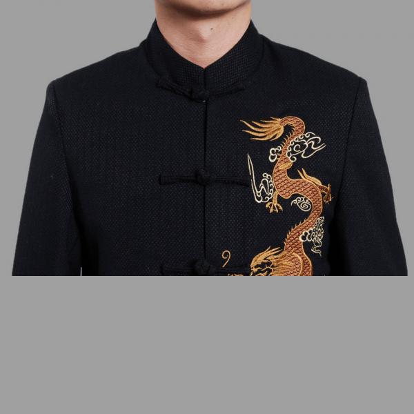 7Fairy Men's Dark Navy Mandarin Gold Dragon Embroidered Chinese Kung Fu Jacket Long Sleeve