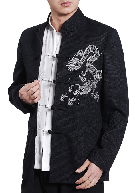7Fairy Men's Dark Navy Mandarin White Dragon Embroidered Chinese Kung Fu Jacket Long Sleeve