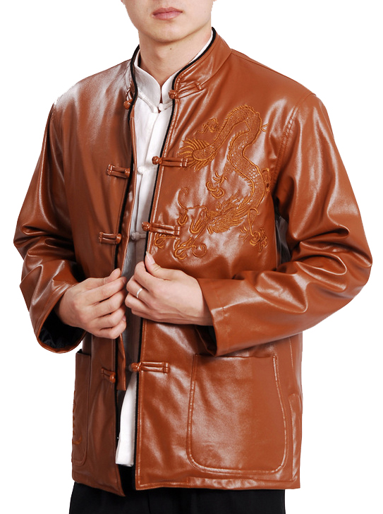 7Fairy Men's Coffee Mandarin Leather Dragon Embroidered Chinese Martial Arts Jacket Long Sleeve