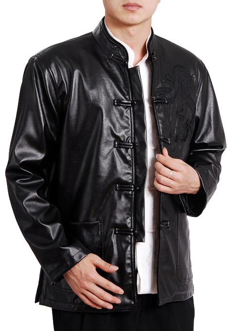 7Fairy Men's Black Mandarin Leather Dragon Embroidered Chinese Martial Arts Jacket Long Sleeve