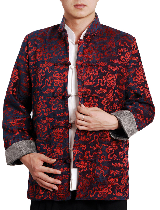 7Fairy Men's Red & Black Velvet Mandarin Auspicious Chinese Gong Fu Jacket Long Sleeve Top