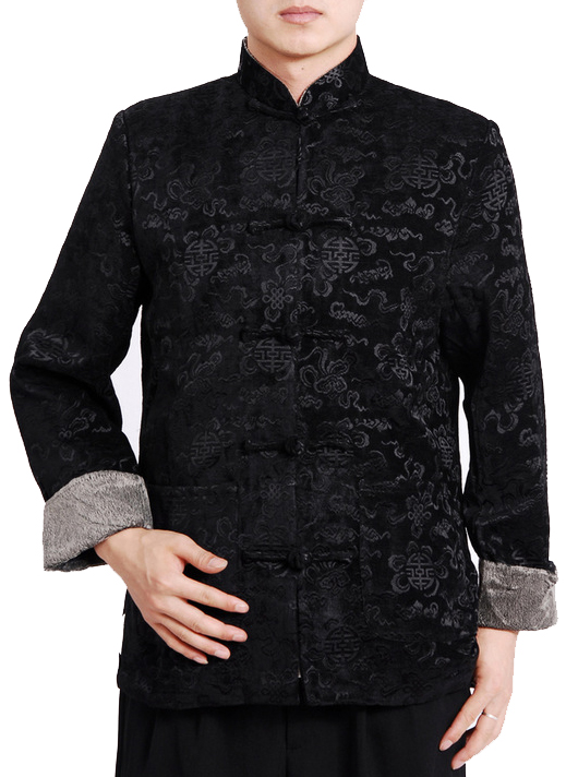 7Fairy Men's Black Velvet Mandarin Auspicious Chinese Gong Fu Jacket Long Sleeve Top
