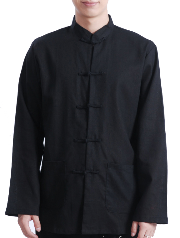 7Fairy Men's Black Cotton & Flax Loose Chinese Shaolin Gong Fu Jacket Long Sleeve Top