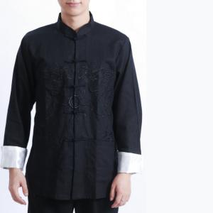 7Fairy Men's Black Flax Loose Dragon Embroidered Chinese Shaolin Gong Fu Jacket Long Sleeve Top