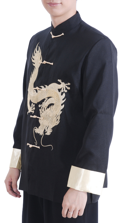 7Fairy Men's Black Satin Traditional Dragon Embroidered Chinese Kung Fu Jacket Long Sleeve