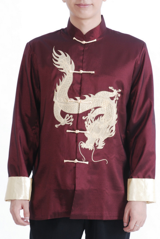 7Fairy Men's Burgundy Satin Traditional Dragon Embroidered Chinese Kung Fu Jacket Long Sleeve