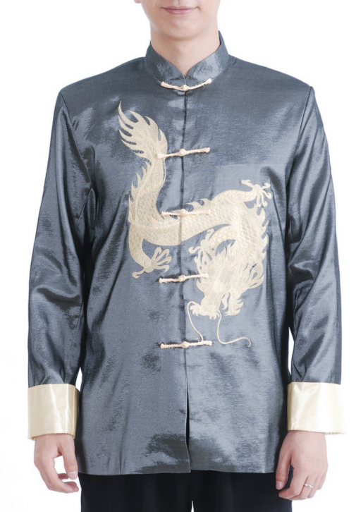 7Fairy Men's Gray Satin Traditional Dragon Embroidered Chinese Kung Fu Jacket Long Sleeve