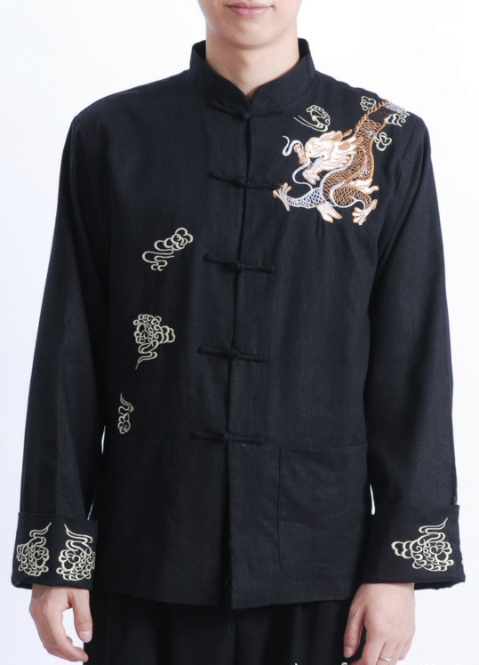 7Fairy Men's Black Flax Loose Dragon Embroidered Chinese Shaolin Kung Fu Jacket Long Sleeve