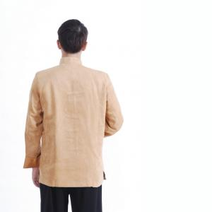 7Fairy Men's Gold Micro Fiber Mandarin Dragon Embroidered Chinese Gong Fu Jacket Long Sleeve