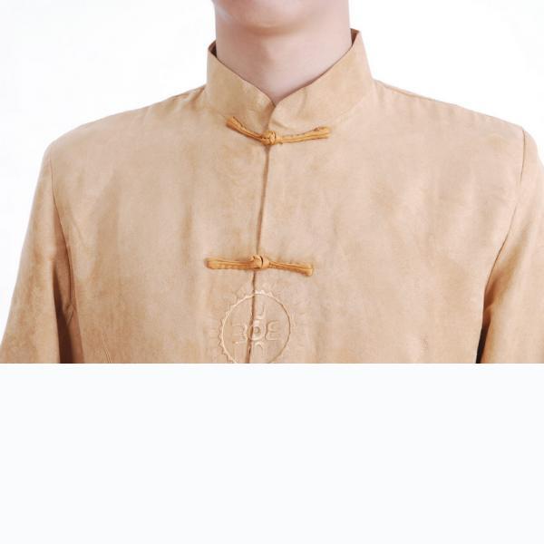 7Fairy Men's Gold Micro Fiber Mandarin Dragon Embroidered Chinese Gong Fu Jacket Long Sleeve