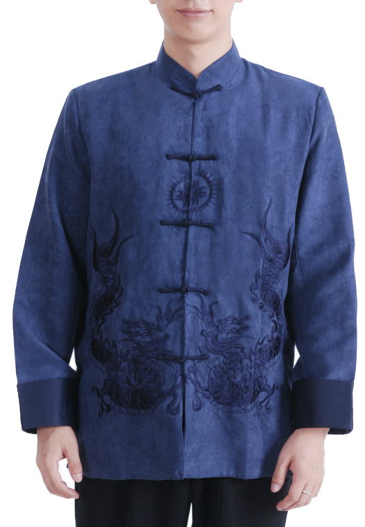 7Fairy Men's Navy Blue Micro Fiber Mandarin Dragon Embroidered Chinese Gong Fu Jacket Long Sleeve