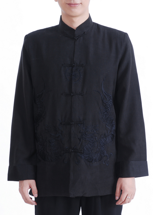 7Fairy Men's Black Micro Fiber Mandarin Dragon Embroidered Chinese Gong Fu Jacket Long Sleeve