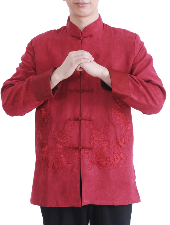 7Fairy Men's Burgundy Micro Fiber Mandarin Dragon Embroidered Chinese Gong Fu Jacket Long Sleeve
