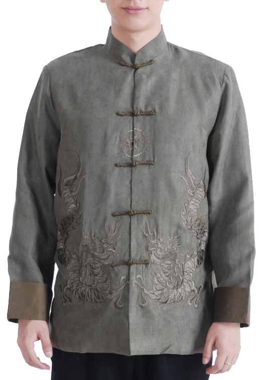 7Fairy Men's Green Micro Fiber Mandarin Dragon Embroidered Chinese Gong Fu Jacket Long Sleeve