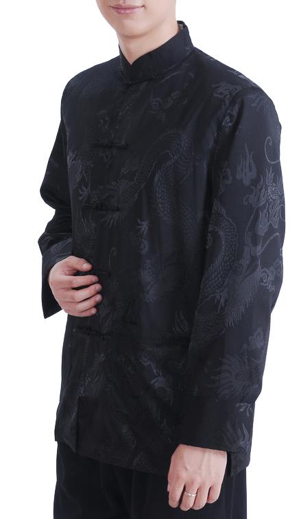 7Fairy Men's Satin Black Mandarin Dragon Chinese Martial Arts Jacket Long Sleeve Top
