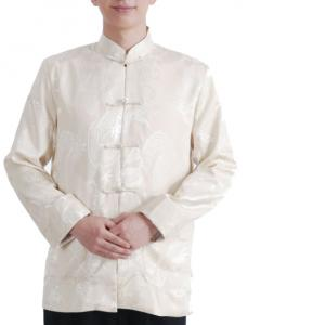 Fairy Men's Satin White Mandarin Dragon Chinese Martial Arts Jacket Long Sleeve Top