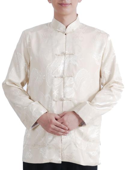 Fairy Men's Satin White Mandarin Dragon Chinese Martial Arts Jacket Long Sleeve Top