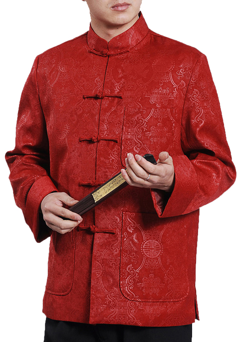 7Fairy Men's Burgundy Velvet Mandarin Auspicious Chinese Kung Fu Jacket Long Sleeve Top