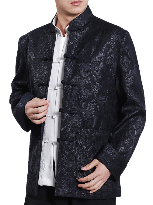 7Fairy Men's Black Velvet Mandarin Auspicious Chinese Kung Fu Jacket Long Sleeve Top