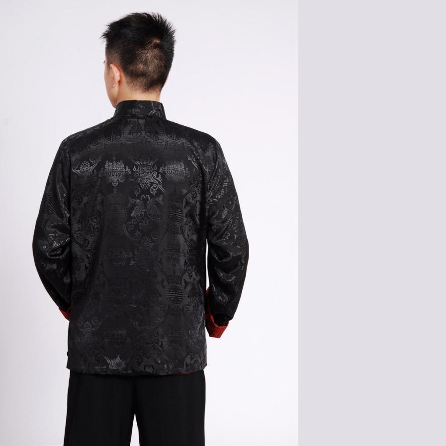 Fairy Men's Black Burgundy Reversible Auspicious Silk Chinese Gong Fu Jacket Long Sleeve
