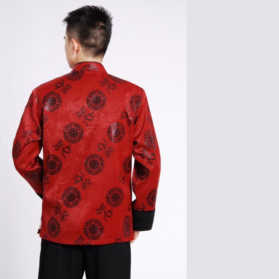 7Fairy Men's High Qulity Burgundy Wool Blend Auspicious Chinese Gong Fu Jacket Long Sleeve