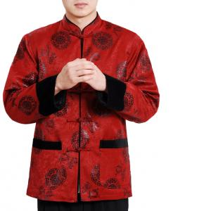 7Fairy Men's High Qulity Burgundy Wool Blend Auspicious Chinese Gong Fu Jacket Long Sleeve