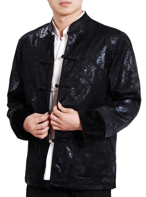 7Fairy Men's High Qulity Black Wool Blend Auspicious Chinese Gong Fu Jacket Long Sleeve