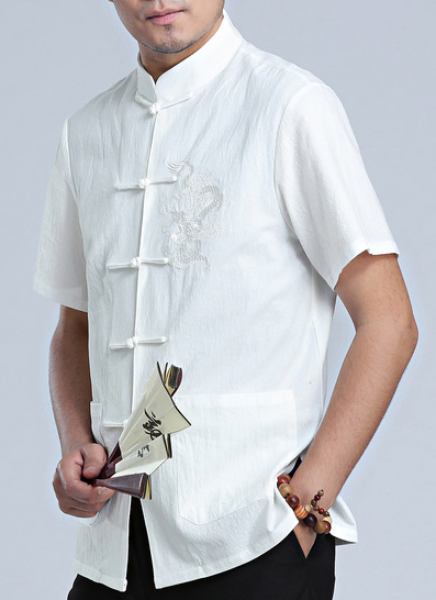 7Fairy Men's White Cotton&Flax Loose Dragon Embroidered Chinese Shaolin Gong Fu Shirt Short Sleeve