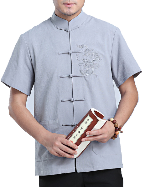 7Fairy Men's Gray Cotton&Flax Loose Dragon Embroidered Chinese Shaolin Gong Fu Shirt Short Sleeve