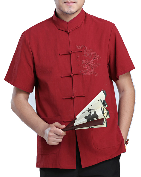 7Fairy Men's Burgundy Cotton&Flax Loose Dragon Embroidered Chinese Shaolin Gong Fu Shirt Short Sleeve