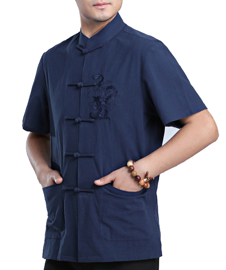 7Fairy Men's Navy Blue Cotton&Flax Loose Dragon Embroidered Chinese Shaolin Gong Fu Shirt Short Sleeve