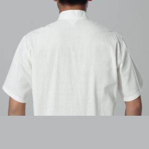 7Fairy Men's White Cotton&Flax Casual Chic Lucky Pockets Chinese Shaolin Gong Fu Shirt Short Sleeve