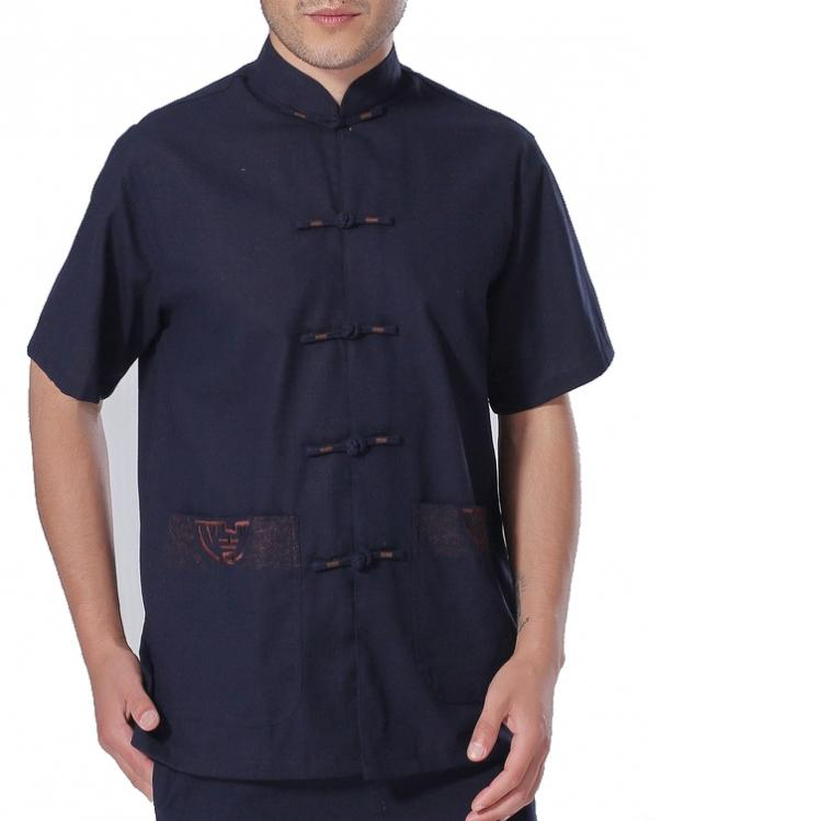 7Fairy Men's Dark BLue Cotton&Flax Casual Chic Lucky Pockets Chinese Shaolin Gong Fu Shirt Short Sleeve