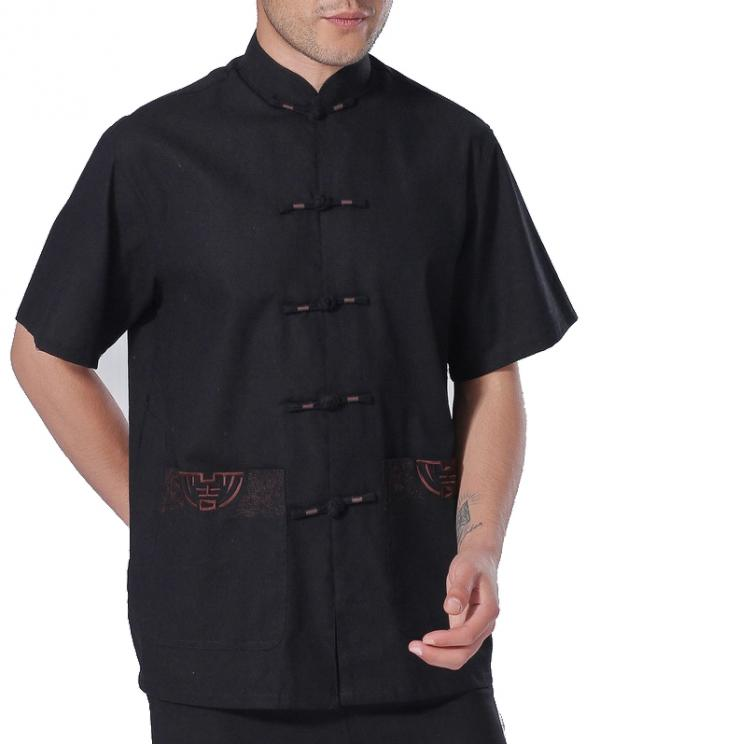 7Fairy Men's Black Cotton&Flax Casual Chic Lucky Pockets Chinese Shaolin Gong Fu Shirt Short Sleeve