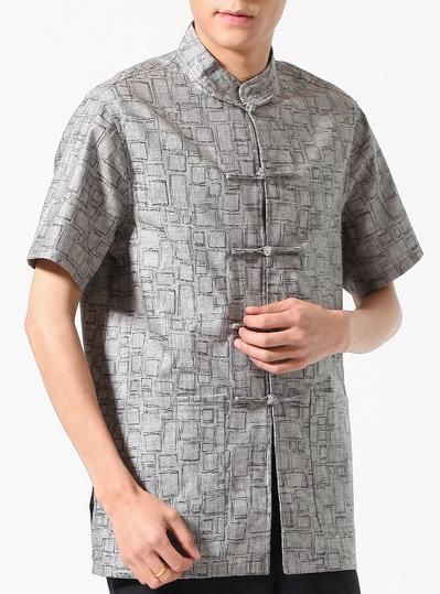 7Fairy Men's Dark Gray Cotton&Flax Classic Geometric Chinese Shaolin Kung Fu Shirt Short Sleeve