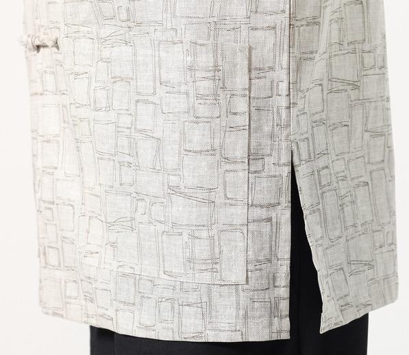 7Fairy Men's Light Gray Cotton&Flax Classic Geometric Chinese Shaolin Kung Fu Shirt Short Sleeve
