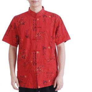 7Fairy Men's Red 100% Cotton Casual Calligraphy Plum Blossom Chinese Kung Fu Shirt Short Sleeve