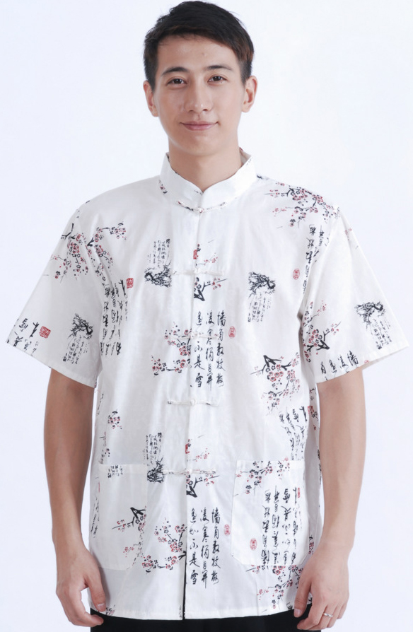 7Fairy Men's White 100% Cotton Casual Calligraphy Plum Blossom Chinese Kung Fu Shirt Short Sleeve