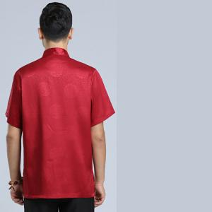 7Fairy Men's Burgundy Silky Loose Auspicious Chinese Tai Chi Gung Fu Shirt Pockets Short Sleeve