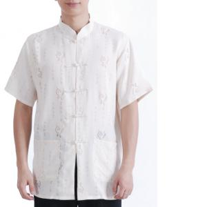 7Fairy Men's Beige Flax Casual Chic Calligraphy Chinese Shaolin Martial Arts Shirt Short Sleeve