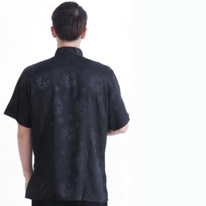 7Fairy Men's Black Silky Loose Auspicious Chinese Shaolin Tai Chi Shirt Short Sleeve