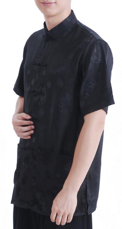 7Fairy Men's Black Silky Loose Auspicious Chinese Shaolin Tai Chi Shirt Short Sleeve
