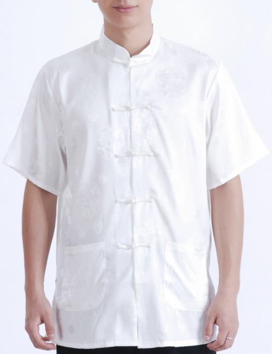 7Fairy Men's White Silky Loose Auspicious Chinese Shaolin Tai Chi Shirt Short Sleeve