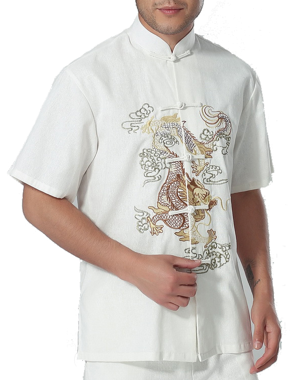 7Fairy Men's White Cotton&Flax Casual Dragon Embroidered Chinese Tai Chi Gung Fu Shirt Short Sleeve