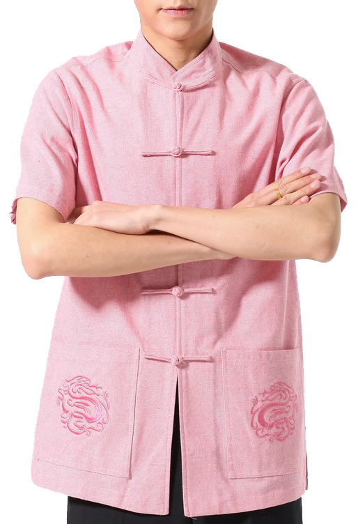 7Fairy Men's Pink Flax Classic Dragon Embroidered Chinese Martial Arts Shirt Short Sleeve
